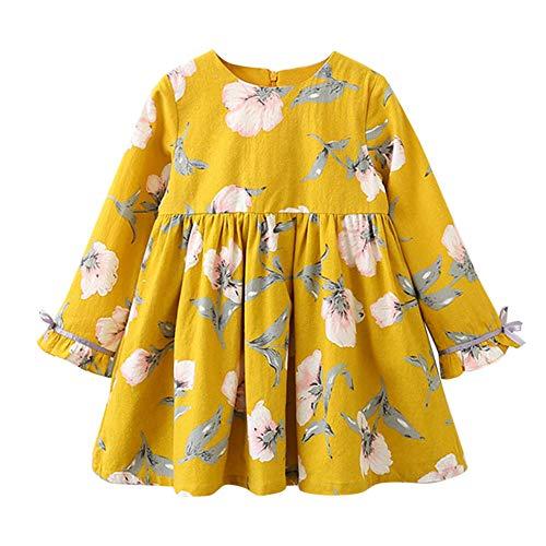 Mädchen Kleider Festlich, Weant Baby Kleidung Mädchen Mode Bowknot Floral Drucken Langarm Prinzessin Kleider FüR Kinder Mädchen Kleidung Partykleid Chiffon Kleid Baby Tägliche Kleidung Pullover