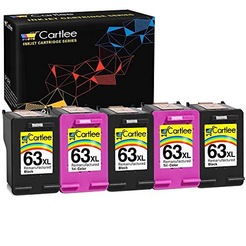 Cartlee 5 Remanufactured 63XL 63 XL High Yield Ink Cartridges for HP Envy 4512 4520 DeskJet 3632 2130 1110 1112 2132 3630 3634 3636 3637 OfficeJet 3830 3833 4650 4652 5255 5258 Printer Black, Color