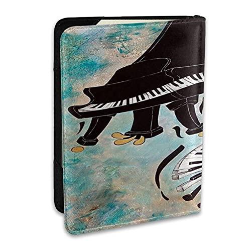 Reisepasshülle Schutzhülle Cool Piano Musik Tastatur PU Leder Reisebrieftasche Sperrkarte Brieftasche Reisepasshüllen 6,5 Zoll