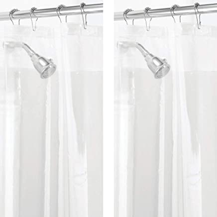 mDesign - 2 Pack - Waterproof, Mold/Mildew Resistant, Heavy Duty PEVA Curtain Liner for Bathroom Showers and Bathtubs, 72 x 72 Clear