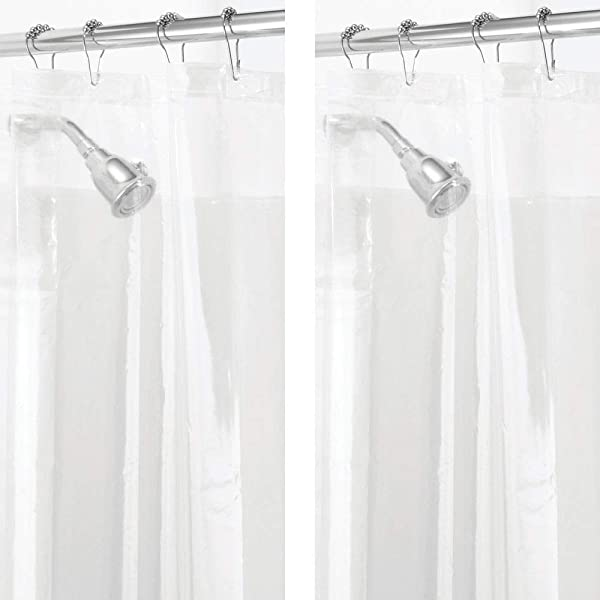 MDesign 2 Pack Waterproof Mold Mildew Resistant Heavy Duty PEVA Curtain Liner For Bathroom Showers And Bathtubs 72 X 72 Clear