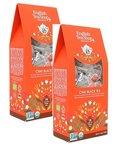 English Tea Shop Tè Nero Biologico Chai in Eco-Box - 2 x 15 Piramidi di Tè (75 Grammi)