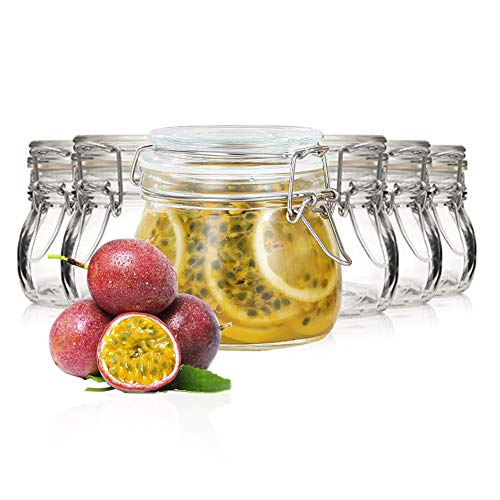 BRKURLEG Einmachgläser 500 ml, 6er Set,Vorratsgläser mit Deckel und Drahtbügel zum luftdichten Aufbewahren, Einkochen und Einlegen, Glas, transparent