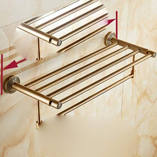 Toallero de baño de latón antiguo cuadrado cuadrado montado en la pared de aluminio Toallero de baño activo Toallero doble Accesorios de baño