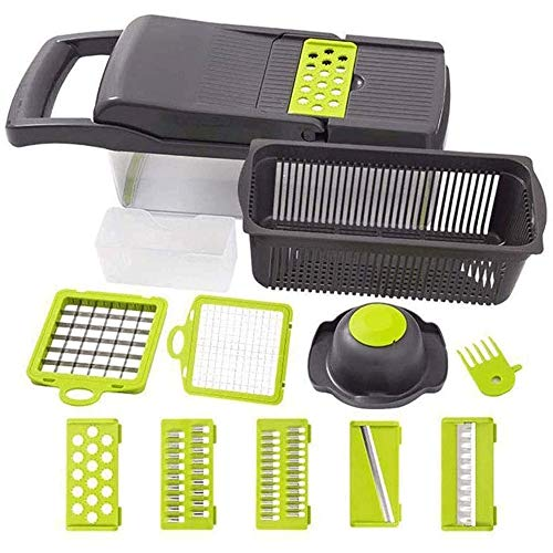 YIBOKANG Household Vegetable Slicer,with 7 Interchangeable Stainless Steel Blades Safe and Durable,BPA-Free,Suitable for Potatoes,Onions and Other Vegetables and Fruits