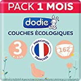 Dodie – Pañales ecológicos y franceses – Talla 3 (4 a 9 kg) – Pack de 162 pañales (lote de 3 x 54)