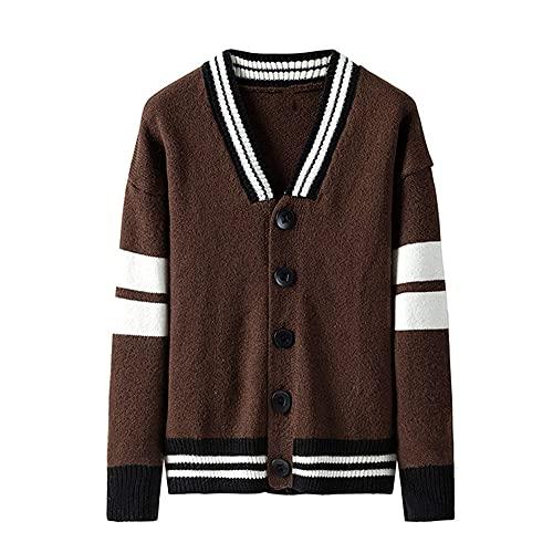 Estilo coreano suéter abrigo hombres Cardigan manga larga solo botón hombre suéteres