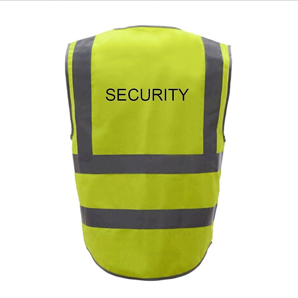 資料ファイアル呼吸TOPTIE 50 PCSセキュリティ8ポケットジッパーフロント高視認性反射安全ベスト卸売 - イエロー - L