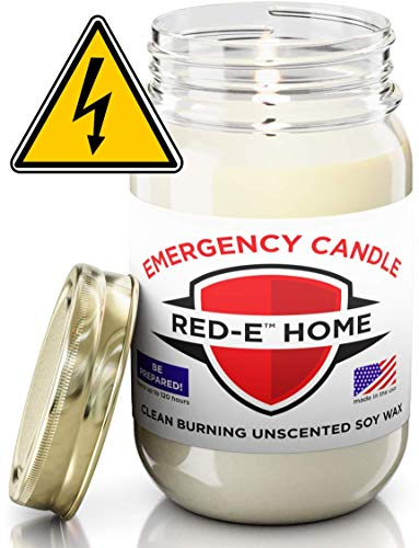 Emergency Candle | Clean Burning Unscented and Uncolored All-Natural Soy Wax | Long Burning Up to 120 Hours | Large 16 oz Jar | Made in The USA