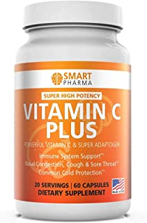 Smart Pharma Vitamin C Plus Capsules - Cordyceps Capsules with Fiber