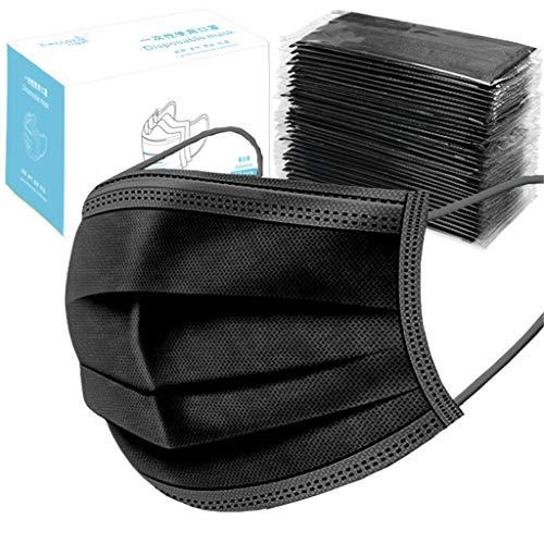 SHINEHUA 10pcs Erwachsene Einweg Staubschutz, Schwarz Gesichtsbedeckung 3 Schichten Gesichtsdeckel Set