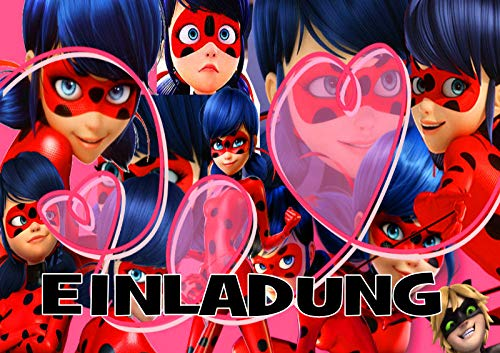 TV-24 Miraculous Ladybug Einladungskarten 12er Set inkl. 12 Umschläge E3