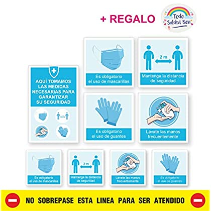 KIT 9 PEGATINAS MEDIDAS SEGURIDAD EMPRESA, super resistentes, lavables, vinilos medidas de seguridad empresa, con Lamina…