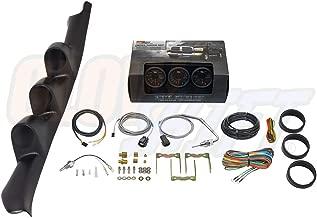 GlowShift Diesel Gauge Package for 1995-1998 GMC Sierra C/K 2500 3500 Truck - Black 7 Color 60 PSI Boost, 1500 F Pyrometer EGT & Transmission Temperature Gauges - Black Triple Pillar Pod