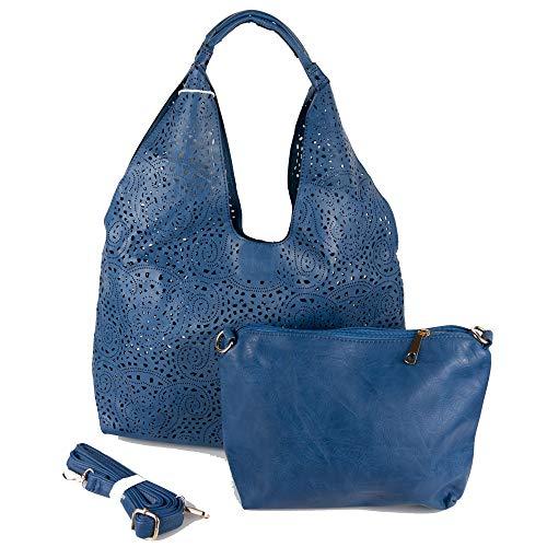 Emila Borsa traforata blu da donna ragazza shopping bag hobo grande con tracolla capiente a spalla giornaliera tutti i giorni lavoro ufficio viaggio moda primavera estate 2021 primaverile estiva Blu