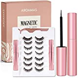 Aroamas Magnetic Eyeliner and Magnetic Eyelash Kit, [7 Pairs]No Glue Reusable Silk False Lashes, Easier To Use Than Traditional Magnetic Eyelashes