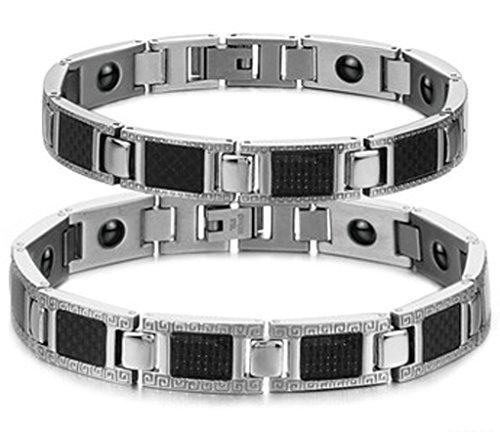 Daesar 2PCS Sein & Ihr Armband Set Edelstahl Carbon-Faser Energie Magnetischen Stein Armband für Paare