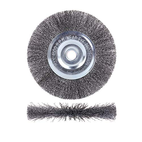 6 inch Wire Wheel for Bench Grinder,Coarse Crimped Wire 0.012-Inch with 1/2'' and 5/8'' Arbor Hole,1PC