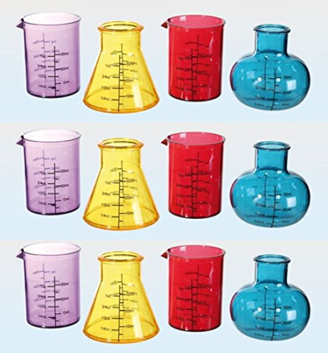 Schnapsgläser Kunststoff Shooter Reagenzglas Design 50 ml 12 Stück