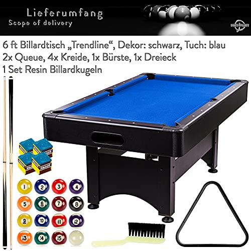 """Maxstore 6 ft Billardtisch Trendline"""" Zubehör, 3 Farbvarianten, 184x108x82 cm (LxBxH), schwarzes Dekor, blaues Tuch"""