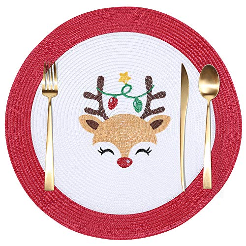 homing Christmas Round Placemats 4 PCS, 15 ' Embroidered Braided Washable Place Mats for Dining Table, Heat-Resistant Red Charger on Holiday Season, Deer with Lights