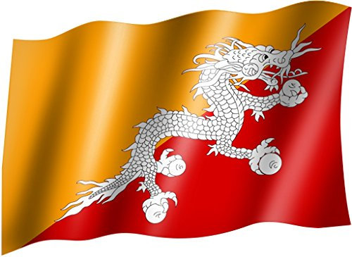Sportfanshop24 Flagge/Fahne Bhutan mit Drache Staatsflagge/Landesflagge/Hissflagge mit Ösen 150x90 cm, sehr Gute Qualität