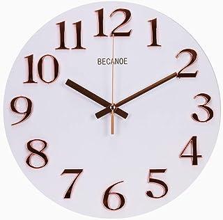 BECANOE 壁掛け時計 木製 立体数字 ローズゴールド 連続秒針 サイレント アナログ ウォールクロック 掛け時計 インテリア