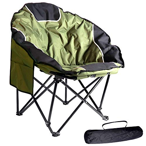 BIGTREE 2021 Upgrade Portable Outdoor Foldable Recliner Folding Chair Seat for Summer Events Backyard Pation Furniture (Moon Chair Green)