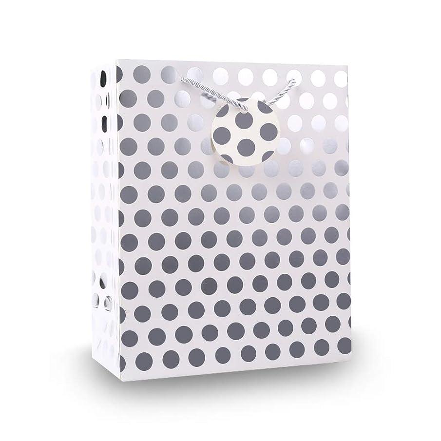 UNIQOOO 12Pcs Premium M-Size Silver Metallic Polka Dots Gift Bags Bulk, 9