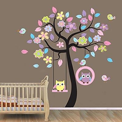 Hatop Owl Cartoon Animals Birds Nursery Wall Art Stickers Decal Home Decor Boys and Girls Children Courtyard Baby Kid's Room