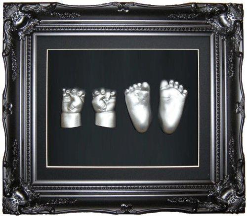 Anika-Baby Kit de moulage pour pieds et mains de bébé avec cadre vintage et peinture métallique Noir/argenté Taille L 29,2 x 24,1cm