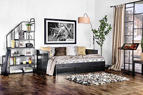 Furniture of America Medina Cottage Style Storage Daybed, Black