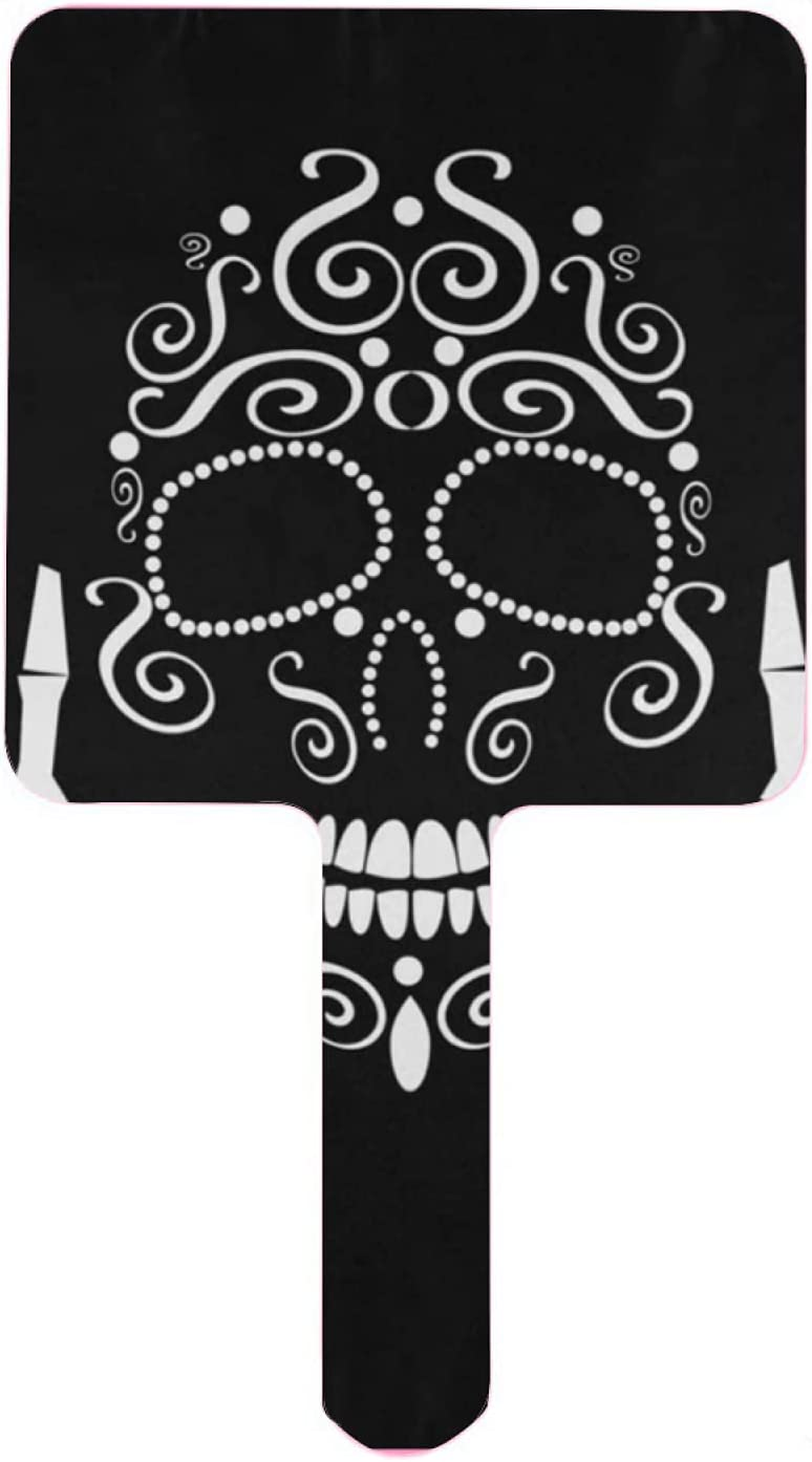 Surprise price Hand Mirror Long Beach Mall Stylish Skull with Finger Travel Middle Up Handheld