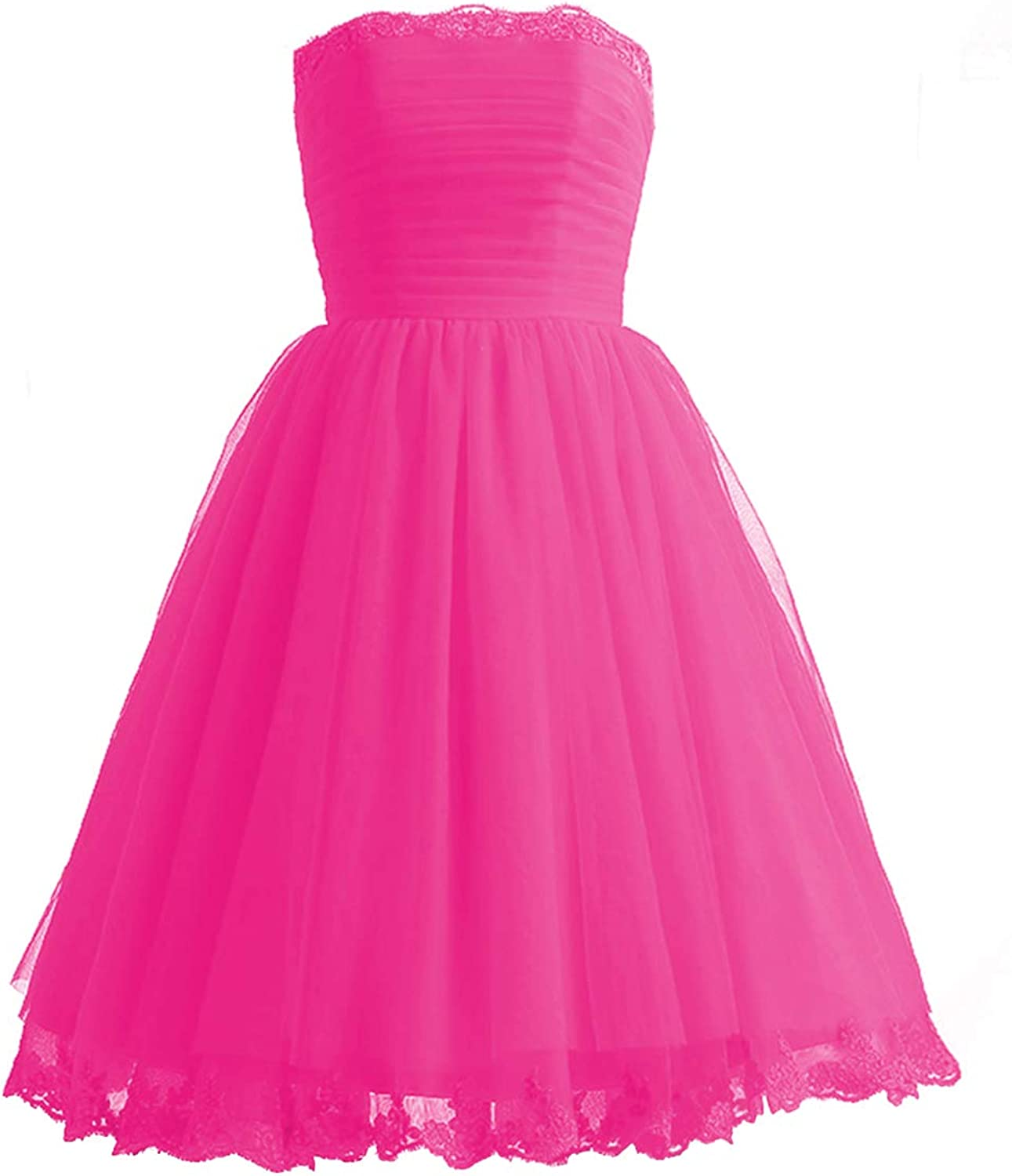 Homecoming Dresses Prom Gowns Strapless Short Tulle Lace Party Formal Dress