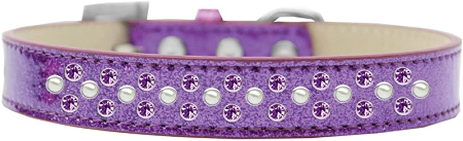 Mirage Pet Products Sprinkles Ice Cream Dog Collar with Pearl and Purple Crystals, Size 12, Purple