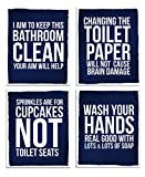Fun Bathroom Home Wall Art Decor Set Gift For Couples Her Him   Funny UNFRAMED Artwork Posters Sign Photos Restrooms Toilet Room Decorations Sayings Cuadros Para Baños Rules Azul ( 8x10, Navy Blue)