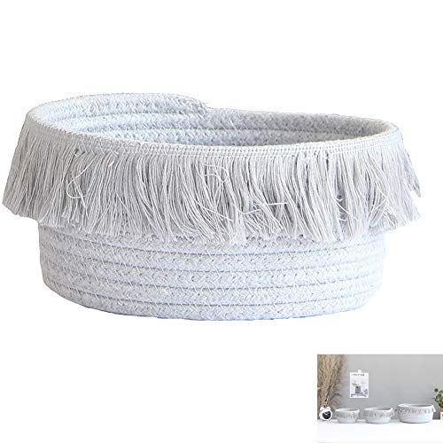 Geyan Storage Basket Woven Cotton Rope Basket Small Storage Bins With Tassel for Wardrobe Closet Organizer for Clothes Blankets Toys (16 * 10cm)