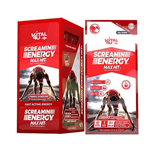 Screamin Energy Max Hit - Maximum Strength Energy Shot with Korean Panax Ginseng, Caffeine and B Vitamins - Coffee Mocha Flavor, 24 Count