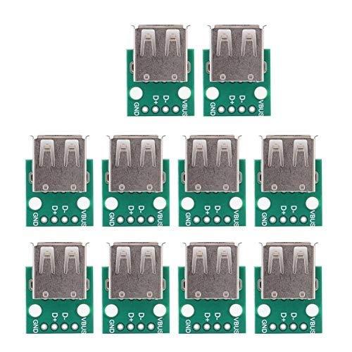USB-Breakout-Board, 10 Stück, USB-Typ-A-Buchse, Breakout-Board, 2,54 mm Pitch-Adapter, Steckverbinder DIP