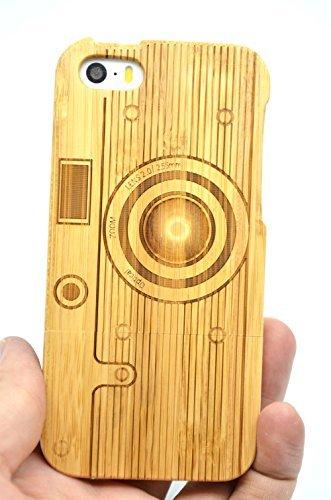 RoseFlower® iPhone SE/iPhone 5S / iPhone 5 Holzhülle - Bambus-Kamera - NatürlicheHandgemachteBambus/Holz Schutzhüllemit Kostenlose Displayschutzfolie für Ihr Smartphone