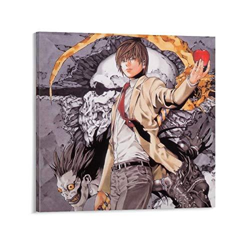 """Póster de Kira con texto en inglés """"Death Note Kira Anime Manga"""" y póster moderno para decoración de dormitorio familiar (50 x 50 cm)"""