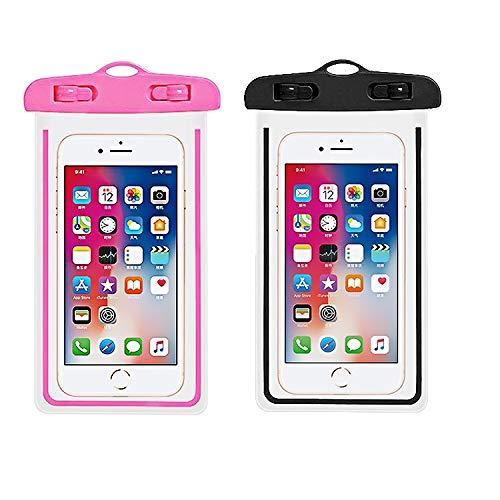 Saimly Funda Universal Impermeable IPX8, Compatible con iPhone XS Max/XR/X/8/8P/7/7P Galaxy de hasta 6,5 Pulgadas, para Piscina, Playa, Kayak, Viajes o baño, Color Negro y Rosa