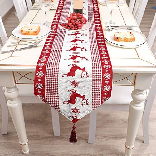 Fansport Weihnachten Tischläufer,Weihnachten Tischdecken Dekoration Weihnachten Tischläufer Abwaschbar Makramee Tischläufer Herbst Winter Tischdekoration(180 * 33CM)
