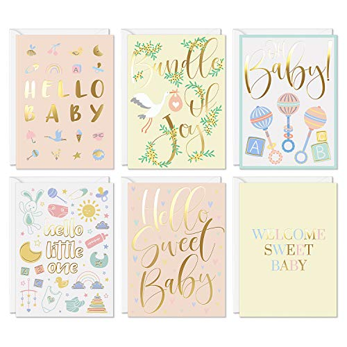"""Sweetzer & Orange Unisex Baby Shower Card Girl and Boy Pack. Set of 24 Boxed Greeting Cards and Envelopes. Baby Shower Cards for Girl and Baby Shower Cards for Boy. 4x5.5"""" New Baby Card Note Cards"""