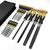 AZUNO 19Pcs Metal File Set in Premium Grade T12 Drop Forged Steel with Carry Case, 4Pcs Flat/Triangle/Half-Round/Round Large Files and 14pcs Needle Files and 1 Steel File Card
