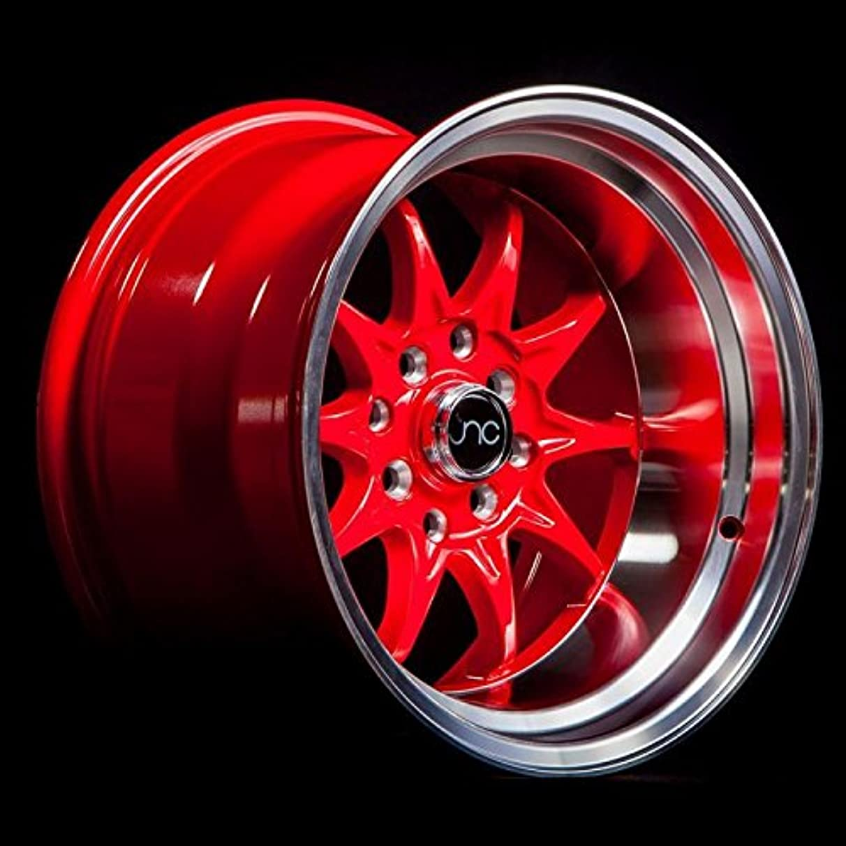 JNC003 Red Machined Lip 15x8 4x100 4x114.3 ET0 Offset Wheel Rim