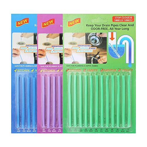 Vegena 36 Stück Abflussreiniger Sticks, Drain Cleaner Sticks, Rohrreiniger Abflussreiniger Stäbchen, Rohrreiniger Enzymreiniger für verstopfte Rohre in Bad, Dusche und Küche