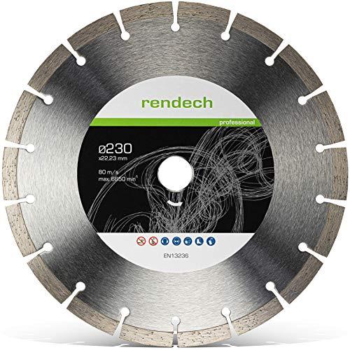 Rendech® Diamantscheibe 230mm Profi Qualität für Beton, Granit, Stein, Mauerwerk uvm. Diamant-Trennscheibe geeignet für den beruflichen Dauereinsatz