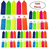 Page Markers 1000 Pieces Index Sticky Tabs with Assorted Translucent Bright Neon Colors Note Tabs Page Marker...