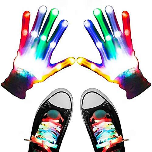 LED Handschuhe, Light Up Handschuhe für Erwachsene Kinder, Flashing LED Handschuhe mit LED Schnürsenkel Set, Kinder LED Handschuhe Glow Flashing Neuheit Spielzeug für Weihnachtsfeier Kostüm Geschenk